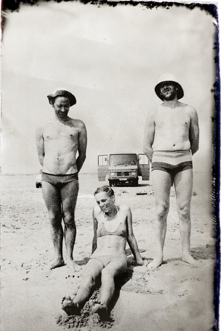 One the beach with Pete, Babette and Rod, with touring van in the background
